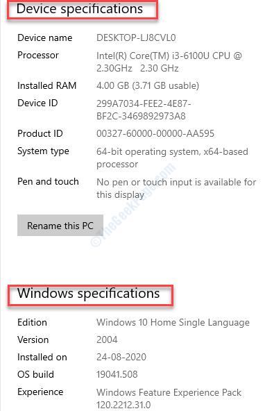 Configuración del sistema Acerca de las especificaciones del dispositivo Especificación de Windows