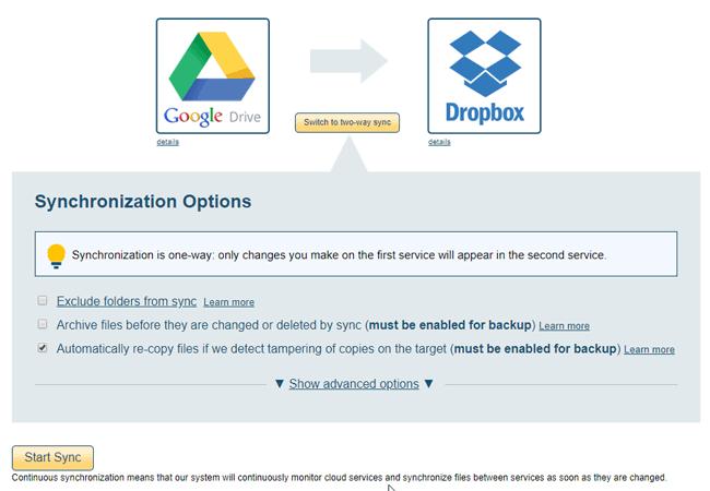Transferencia de archivos de Google Drive a Dropbox