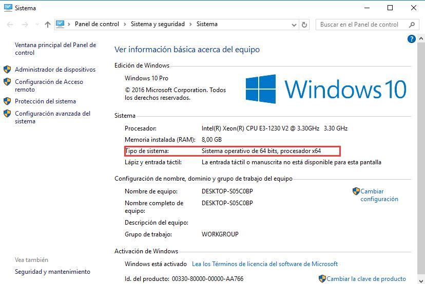 saber si windows es de 32 o 64 bits