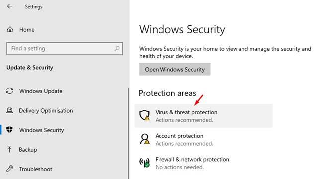 Haga clic en 'Protección contra virus y amenazas'