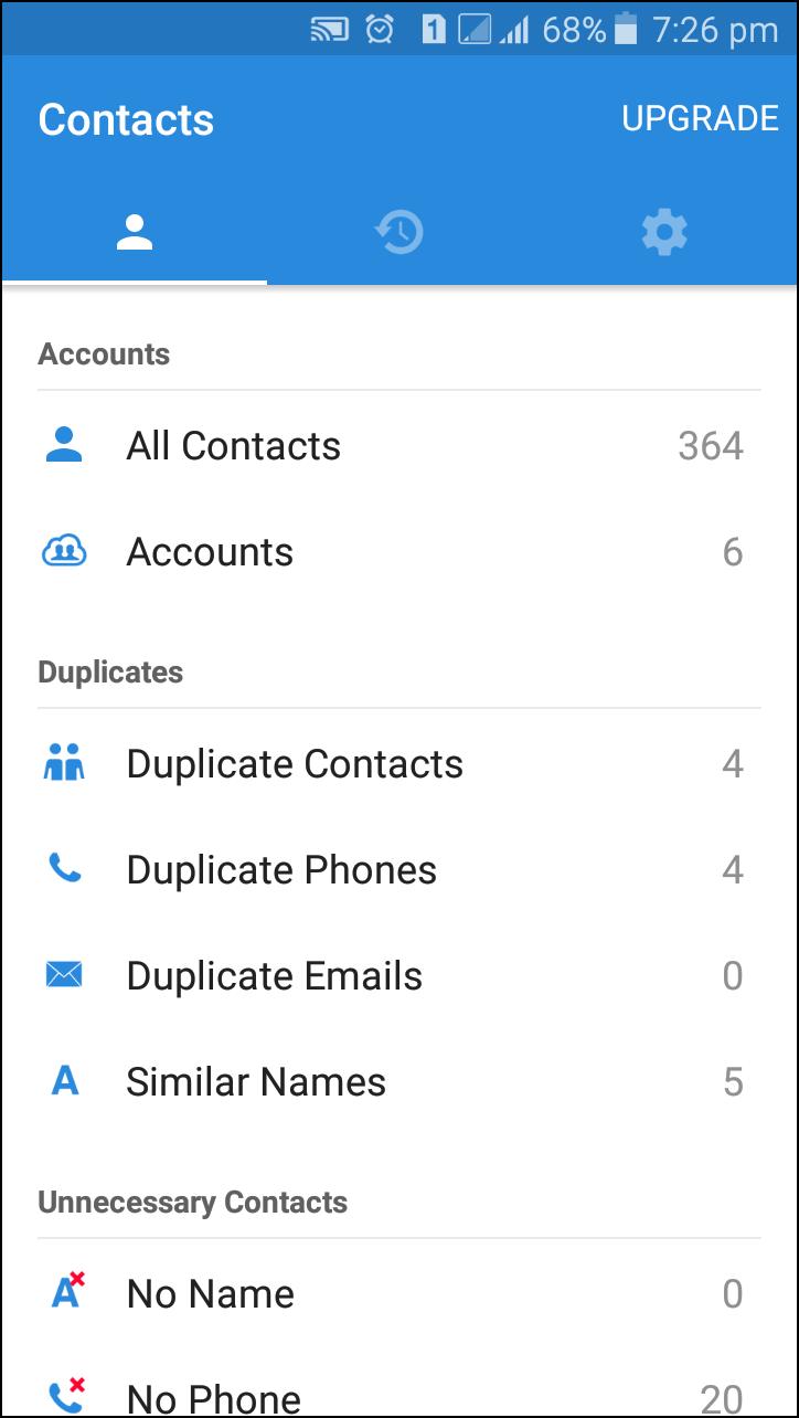 Espere hasta que la aplicación busque los contactos