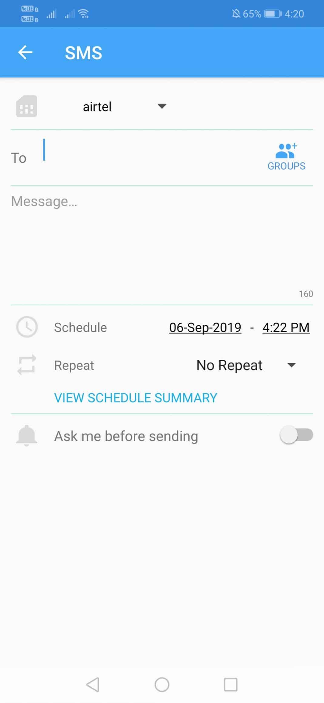 seleccione el contacto y programe la hora y la fecha