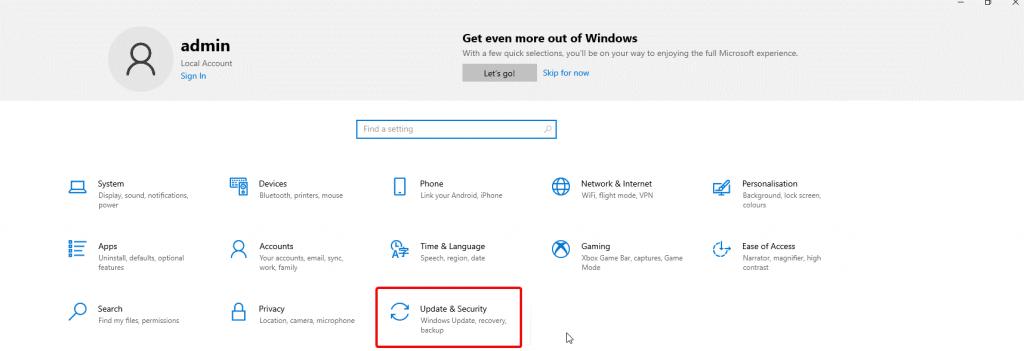 Actualización y seguridad en windows