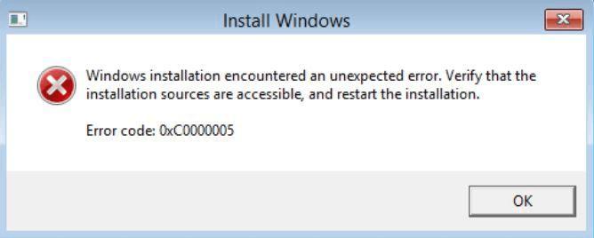 0x0000005 error windows