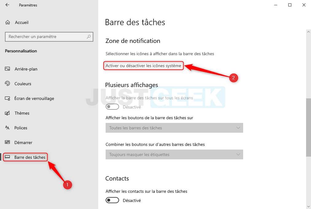 Habilitar o deshabilitar los iconos del sistema en Windows 10