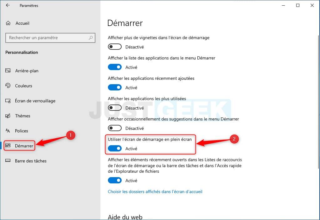Activar o desactivar la pantalla completa del menú Inicio en Windows 10