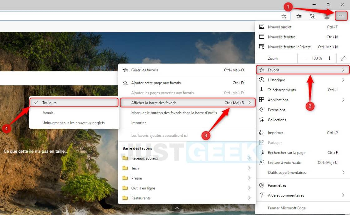 Mostrar la barra de marcadores en Microsoft Edge Chromium