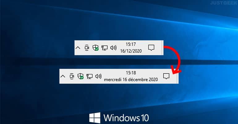 Mostrar el día de la semana en la barra de tareas de Windows 10