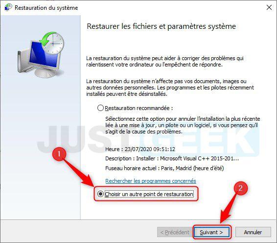 Restaurar archivos y configuraciones del sistema en windows 10