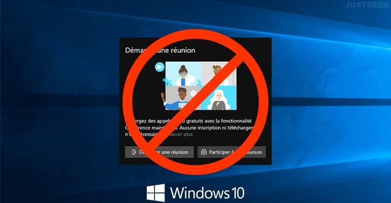 Desactivar el icono Iniciar reunión en Windows 10