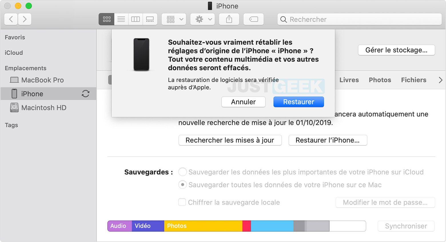 Restaurar iTunes de iPhone