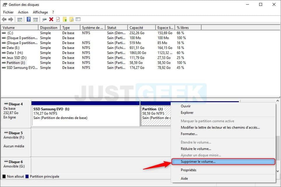 Eliminar el volumen del disco de Windows