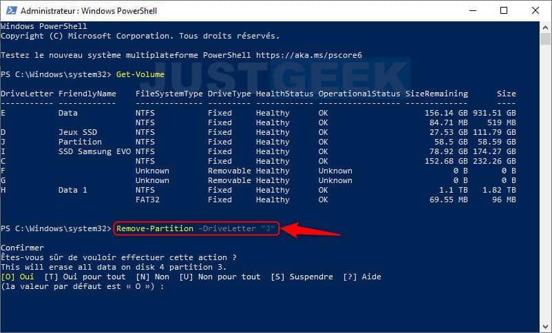 Eliminar un volumen o partición con Windows PowerShell