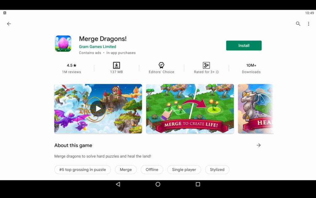 Instalar Merge Dragons en PC