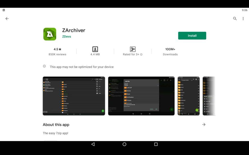 Instale la aplicación ZArchiver en el PC