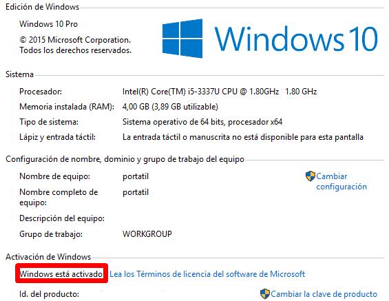 saber si windows 10 esta activado